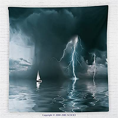 59 x 59 Inches Sailboat Decor Fleece Throw Blanket Yacht at the Ocean Comes Nearer a Thunderstorm with Rain and Lightning Blanket