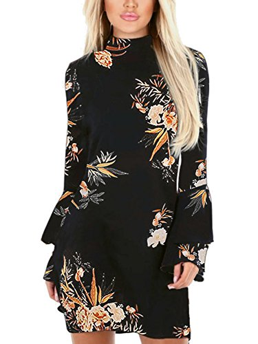 Dress Mini Sleeves Flared - YOINS Women Dress Random Floral Print Perkins Collar Flared Sleeves Mini Dress 03 XS