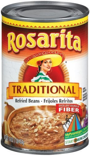 (Rosarita Refried Beans 16oz Can (Pack of 6) Choose Flavor Below (Traditional))