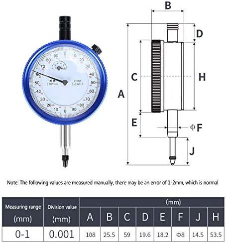 Dial Gauge Mechanical Dial Dial Test Indicator Dial 0-1Mm Accuracy Measuring Meter High Precision Instrument Tool, Shockproof
