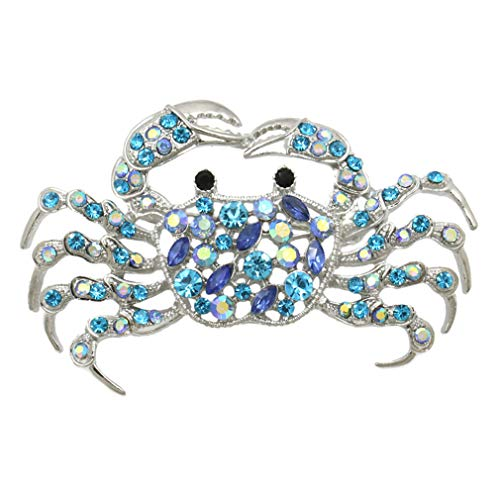 DARLING HER Light Blue AB Crystal Rhinestones Fashion Crab Brooch Pins Costume Jewelry for Women