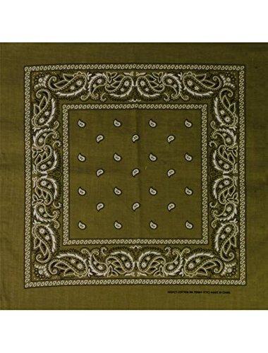Masterdis Mstrds Bandana 50x50 Cm 100/% Cotton Wristband Paisley Olive