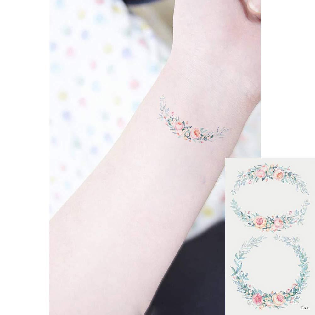 Oottati 2 Hojas Pequeño Lindo Tatuaje Temporal Tattoo Ramo: Amazon ...