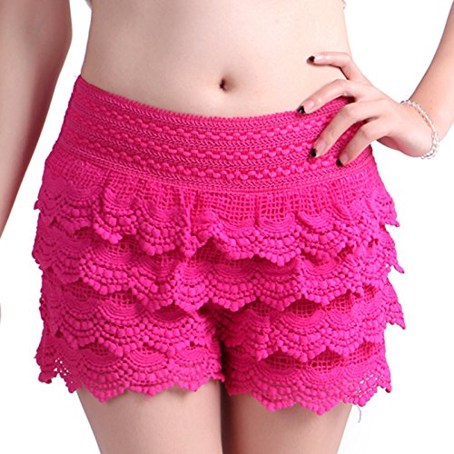 HDE Women's Fitted Scallop Hem Crochet Lace Mini Shorts (Pink, - Inseam Height Shorts By