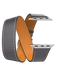 Apple Watch Band, MoKo Luxury Genuine Leather Smart Watch Band Strap Double Tour Replacement for 38mm Apple Watch Models, Quartz GRAY (Not Fit 42mm Version 2015)