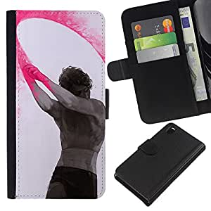 KingStore / Leather Etui en cuir / Sony Xperia Z3 D6603 / Pintura Arte Indio Holiday Hombre;