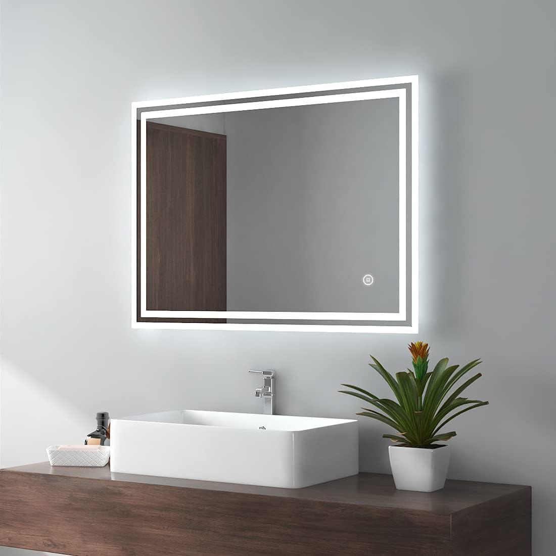 EMKE Espejo de baño LED 80x60cm Espejo de baño con iluminación Espejo de Pared con iluminación en Blanco frío Espejo con Interruptor táctil IP44 Ahorro de energía