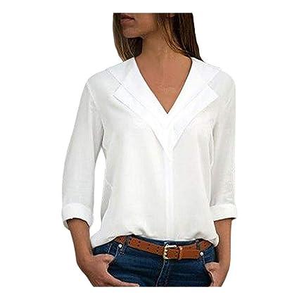 buy popular 452ab bc82e Camicia donna in lino di cotone casual a maniche lunghe ...