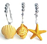 Love Creative 12 PCS Easy Glide Stainless Steel Double Shower Curtain Hooks Rings Starfish Seashell Shower Curtain Hooks Rings