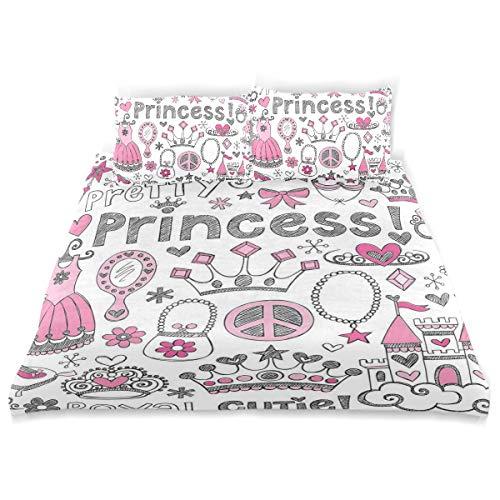 YCHY Decor Duvet Cover Set, Girls Fairy Tale Princess Tiara Print A Decorative 3 Pcs Bedding Set with Pillowcases, Twin/Twin XL