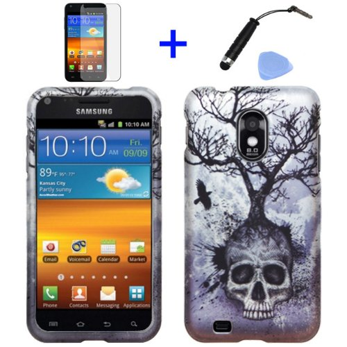 4-items-Combo-Mini-Stylus-Pen-LCD-Screen-Protector-Film-Case-Opener-Silver-Blue-Greyish-Black-Tree-Skull-Design-Rubberized-Snap-on-Hard-Shell-Cover-Faceplate-Skin-Phone-Case-for-Sprint-Samsung-Epic-To