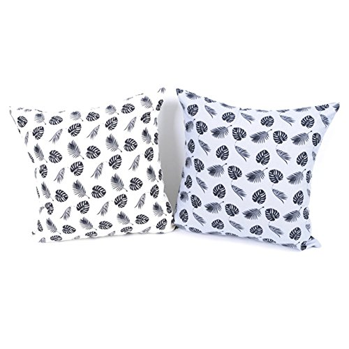 Dominique Cotton Decor Throw Pillow Case Tropical Green Leaves Design Cushion Cover Set of 2, (Dominique Cotton Blend)