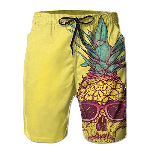 UNIQUE Pants Sunglass Skull Pineapple Men's Quick Dry Beach Board Shorts Summer Swim Trunks For Father's Day For Boy -