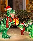 Pre-lit Animated Lighted Shimmering Glittering T-Rex and Stegosaurus PAIR of Dinosaur Christmas Outdoor Yard Decorations