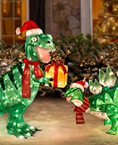 amazoncom pre lit animated lighted shimmering glittering t rex and stegosaurus pair of dinosaur christmas outdoor yard decorations home kitchen - Dinosaur Christmas Decorations