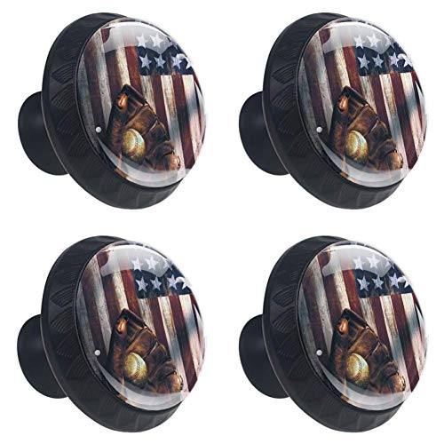 4 Pieces Set Cabinets Hardware Round Furniture Knobs American Flag Baseball Print,Drawer Dresser Cupboard Wardrobe Pulls Handles for Home Kitchen