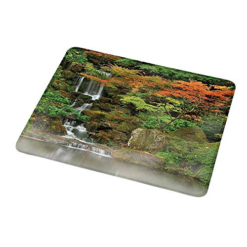 Gaming Mouse Pad Custom Waterfall,Wild Small Cascade Pouring Over Steep Stones Peaceful Fall Autumn Motion Scene,Orange Brown,Non-Slip Personalized Rectangle Mouse pad 9.8
