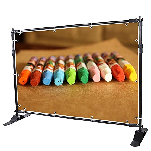 WinSpin 8' Step and Repeat Display Backdrop Banner Stand Adjustable Telescopic Trade Show Wall ()