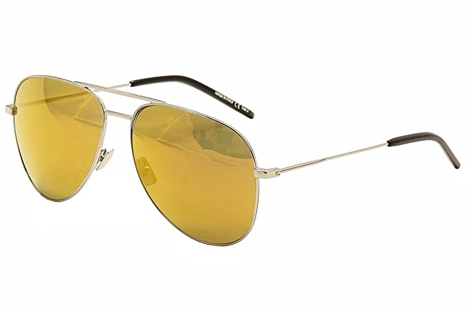 c915760fd3 Amazon.com  Saint Laurent Classic 11 012 Silver Black Aviator Sunglasses  59mm  Clothing