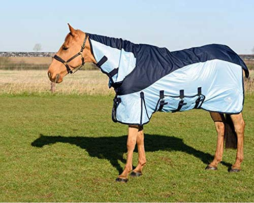 Waterproof Fly Horse Rug 600 D Turnout Top Lightweight Combo Mesh Fly Rug Navy//Baby Blue Color 53