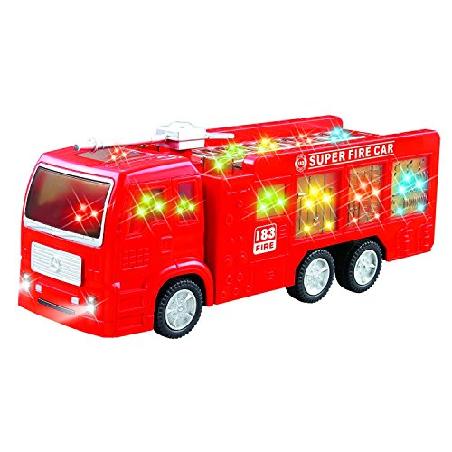 Self driving Bump And Go Fire Engine Rescue Truck Toy for Boys & girls with Beautiful 3D Lights and Sounds - Great Gift for kids age 3 - 8 yrs - Engine Childrens Fire