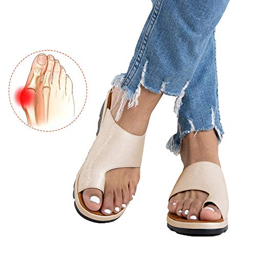 Chenghe Women's Flip Flop Wedge Sandal Comfort Open Toe Thong Slid Slippers Summer Beach Travel Sandal Shoes Golden US 7.5 (Best Dress Shoes For Feet With Bunions)