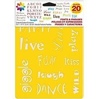 Delta Creative Stencil Mania 7x10 Stencil 3-Pack: Fuentes y frases