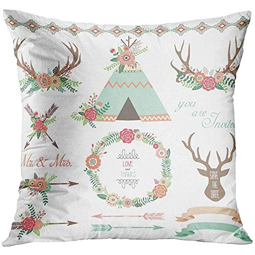 - Throw Pillow Cover Aztec Floral Tribal Collections Antlers Teepee Tents Wedding Arrow Wreath Border Camping Decorative Pillow Case Home Decor Square 18x18 Inches Pillowcase