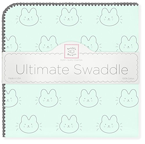 SwaddleDesigns Ultimate Swaddle Blanket, Made in USA Premium Cotton Flannel, Bonjour Bunnie on Pastel SeaCrystal (Ultimate Blanket Receiving Trim)