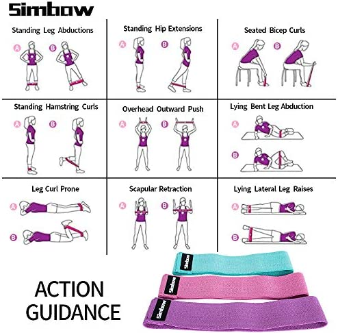 Simbow Resistance Bands, [2020 Upgrade] Elastic Workout Bands for Leg and Butt, Anti-Slip & Roll Loops Exercise Bands for Hip Squat Glute Training Sport Fitness Band, Pack of 3 3