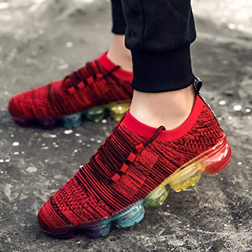 36e4d7bf67ea2 Bohelly ♚ New Flying Woven Men's Breathable Lacing Lightweight Sports  Running Shoes Sports Shoes Shock Absorption Anti-Skid Air Cushion Shoes Red