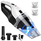 HoLife Hand Vacuum Cleaner Rechargeable Hand Vac Cordless Car Vacuum 14.8V 100W Lightweight Portable Vacuum Wet Dry for Home Pet Hair and Car Cleaning (2 Washable Filters)