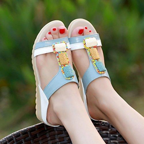 Female flat sandals student 245mm Non sandals L UK6 slip PENGFEI Color slippers Shopping Summer Blue Leisure EU39 Size White nzvTfWI