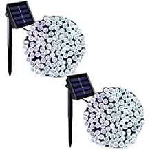 Binval Solar Fairy Christmas String Lights, 2-Pack 72ft 200LED, Ambiance Lighting for Outdoor, Patio, Lawn, Landscape, Fairy Garden, Home, Wedding, Holiday Party and Xmas Tree(White)