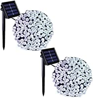 Binval Solar Fairy Christmas String Lights, 2-Pack 72ft 200LED, Ambiance Lighting for Outdoor, Patio, Lawn, Landscape, Fairy Garden, Home, Wedding, Holiday Party and Xmas Tree(Warm White)