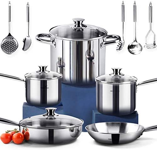 HOMI CHEF 14-Piece Nickel Free Stainless Steel Cookware Set - Nickel Free Stainless Steel Pots and Pans Set - Stainless Steel Non-Toxic Cookware Set