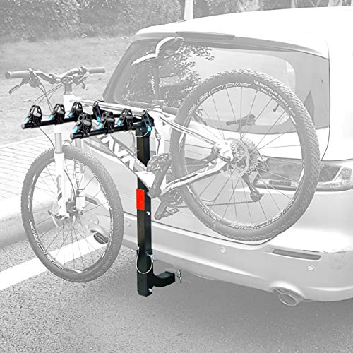 Leader Accessories Hitch Mounted 4 Bike Rack Bicycle Carrier Racks Foldable Rack for Cars, Trucks, SUV's and Minivans with 2″ Hitch Receiver