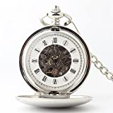 Zxcvlina Classic Smooth Mechanical Pocket Watch Roman Numeral Silvery Unisex Retro Pocket Watch with Chain Suitable for Gift Giving