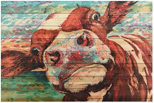 Empire Art Direct Curious Cow 3 Digital Print on Solid Wood Animal Wall Art