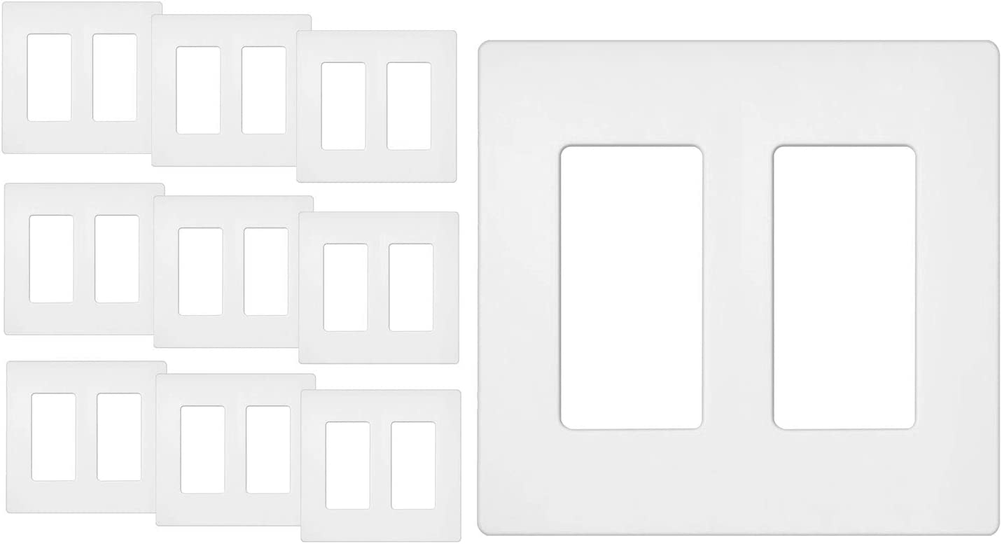 10 Pack - ELECTECK Screwless Wall Plate, 2-Gang Standard Size Decorative Outlet Cover/Switch Cover, Polycarbonate Thermoplastic, White