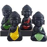 Jaipurcrafts Child Monk Showpiece - 10.5 cm (Polyresin, Multicolor, Set Of 4) For Home/Office Décor