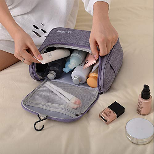 Hanging Travel Toiletry Bag for Women and men Large Cosmetic Makeup Travel Organizer Bag for Bathroom Shower (M, Light Grey)
