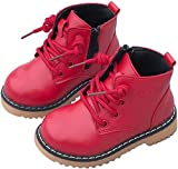 PPXID Boy's Girl's Fashion Waterproof Lace-up Side Zip Short Boots(Baby/Toddler/Little Kid)-Red 9 US Size