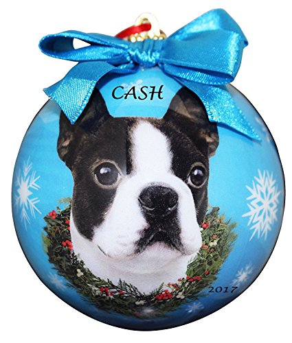 - Boston Terrier Dog Shatter Proof Christmas Ball Ornament with Ribbon - Personalized Christmas Dog Ornament