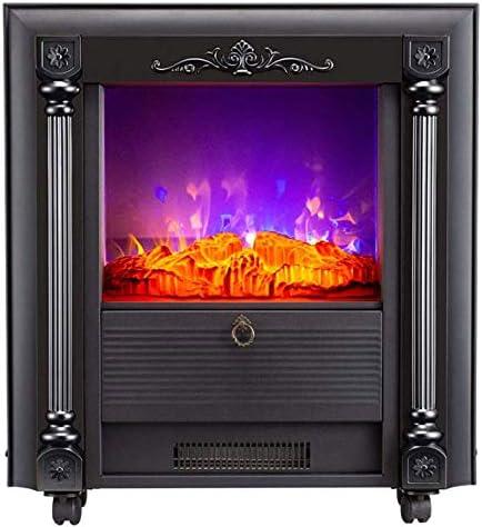 35「」凹型電気暖炉 - ポータブル暖炉ストーブ - 調節可能な小型暖炉ヒーター - 自立装飾ヴィンテージの3Dシミュレーション炎,黒