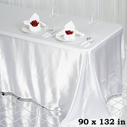 BalsaCircle 90x132-Inch White Rectangle Satin Tablecloth Table Cover Linens for Wedding Party Catering Kitchen Dining Events