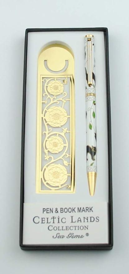 Sea Gems Juego de marcapáginas y bolígrafo con diseño de Gato y Rosa Medieval