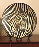 Zebra Safari Animal Zebra Decorative Plate with Easel Decor Majestic African Wild Tribal Home Accent Charger Black Brown Beige Shelf Mantle Table Top Decoration