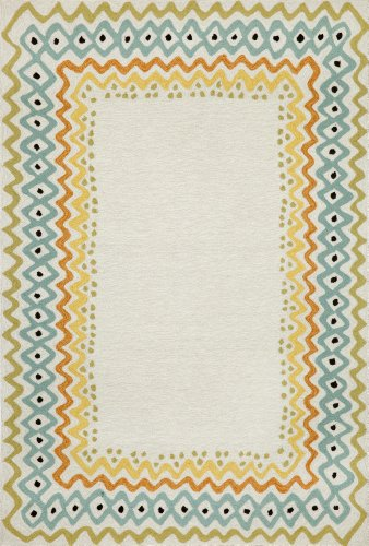Pastel Acrylic Rug - Liora Manne Capri Ethnic Border Rug, Indoor/Outdoor, 42 by 66-Inch, Pastel