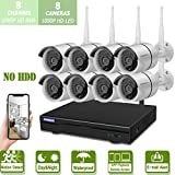 Home Security Camera System Wireless Outdoor,OHWOAI 8 Channel 1080P WiFi NVR, 8pcs 1080P HD IP Security Surveillance Home Cameras(No Hard Drive),House CCTV Camera System,Night Vision,Easy Remote View
